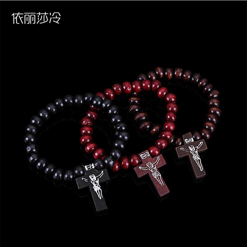 Perles de bois catholiques chapelet Bracelet classique prière chapelet jésus bénédiction chapelet Bracelet classique croix en bois jésus