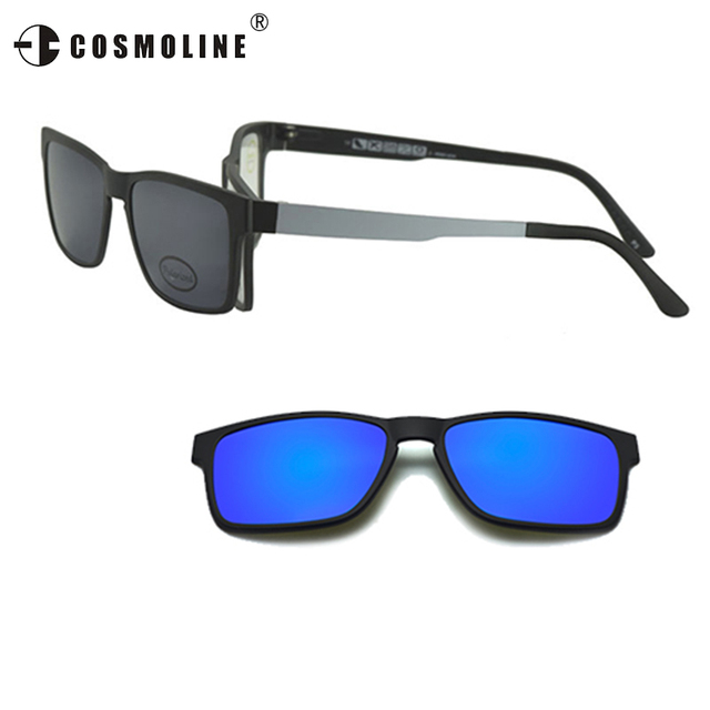 3 in 1 Sun Glasses Frame For Men Magnetic Clip On Polarized Lens ...