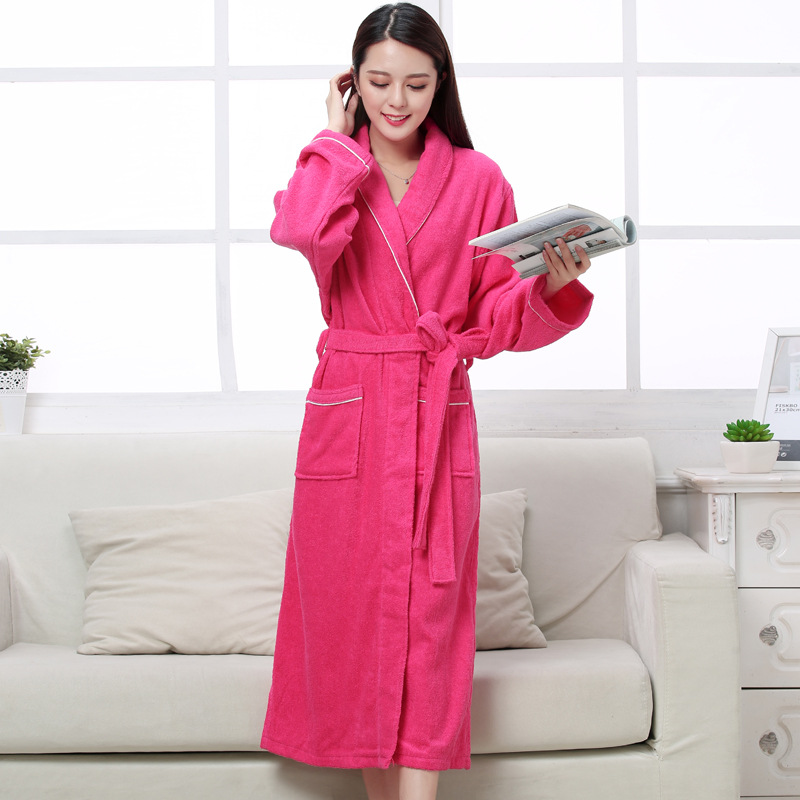 Image 5 - Women Men Cotton Terry BathRobes all seasons couple Robe hotel bathrobe soft breathable absorbent sleepwear Night gown hombre-in Robes from Underwear & Sleepwears