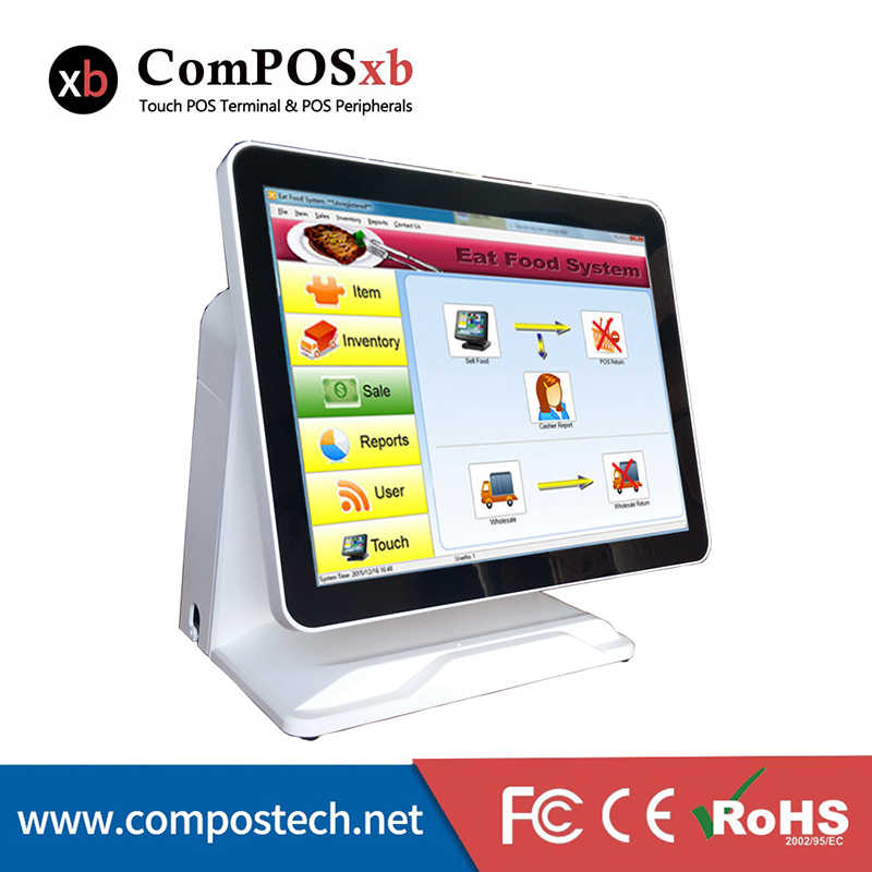POS1618P--Shenzhen ComPos Cheap 15'' Pure Touch Screen All in One Touch  Screen POS System/POS Terminal With VFD Customer Display