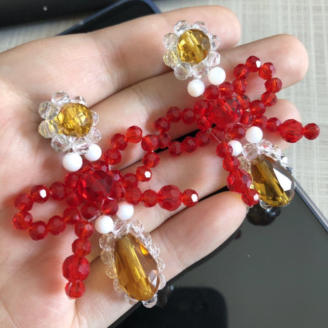 New earrings simple knitting colored beaded crystal earrings ladies