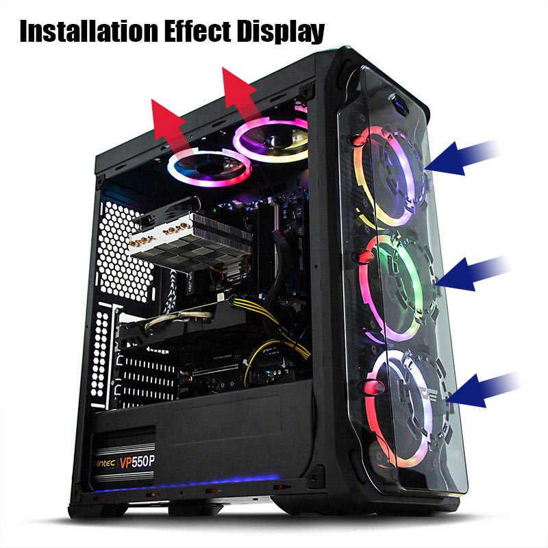 Darkflash Aigo 2019 DR12 RGB พัดลมคอมพิวเตอร์ Case พัดลมระบายความร้อน PC LED 120 มม. เงียบ + IR Remote new คอมพิวเตอร์ cooler Cooling พัดลม