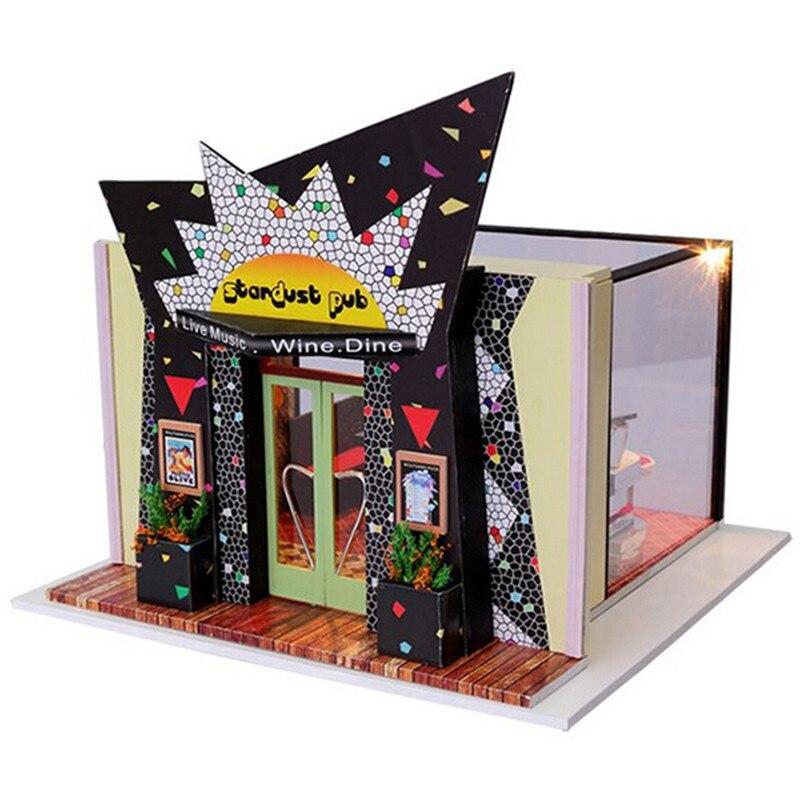 ФОТО Mini Bar Miniature Dollhouse Furniture,Fashion DIY Wood Doll House Assembling Toy for Children Birthday Present Free Shipping