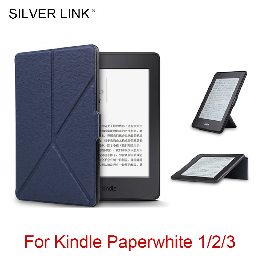 SILVER LINK Kindle Paperwhite 1/2/3 Foldable Case PU Faux Leather Stander Smart Cover For Amazon Ereader Auto Sleep/WakeUp Shell protective pu leather flip case cover w auto sleep for amazon kindle paperwhite deep pink