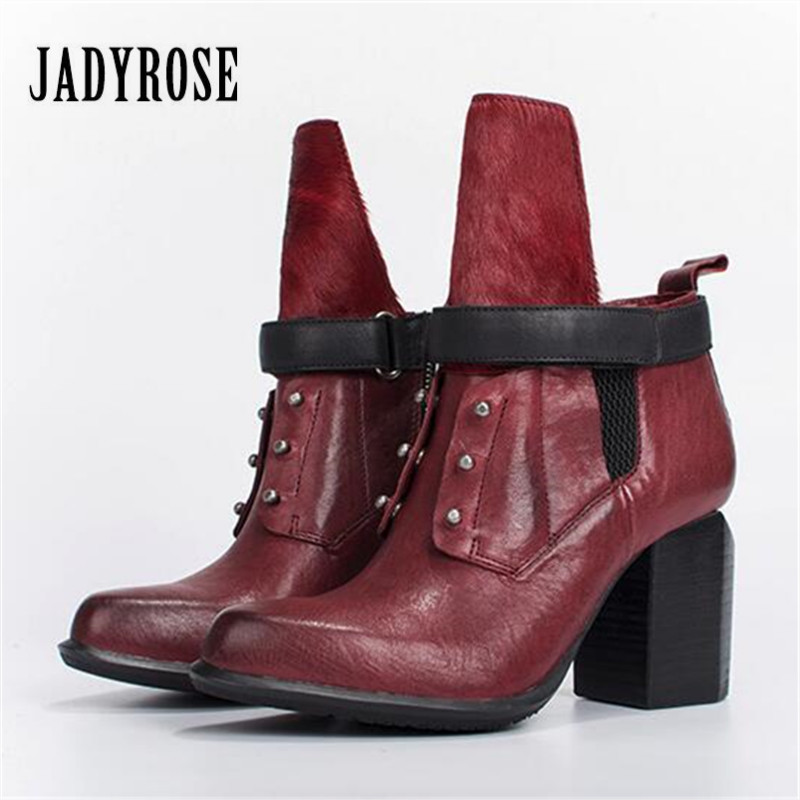 Jady Rose Fashion Ankle Boots for Women Wine Red Genuine Leather Shoes Woman High Heels Female Autumn Chunky Heel Women Pumps обогреватель умница тк 2000вт