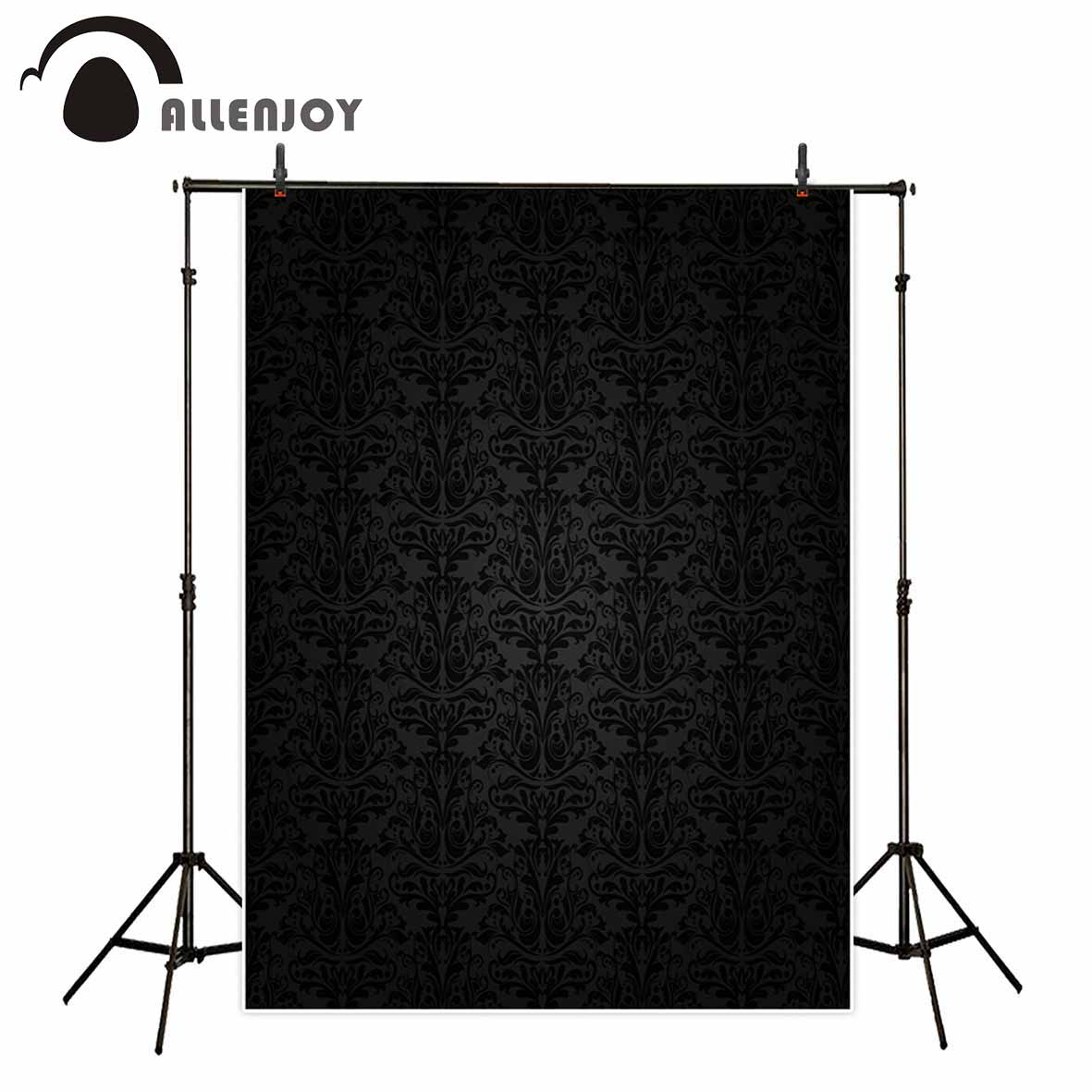 Allenjoy photography background Black solemn damask decoration wallpaper professional festival backdrop for photographic studio