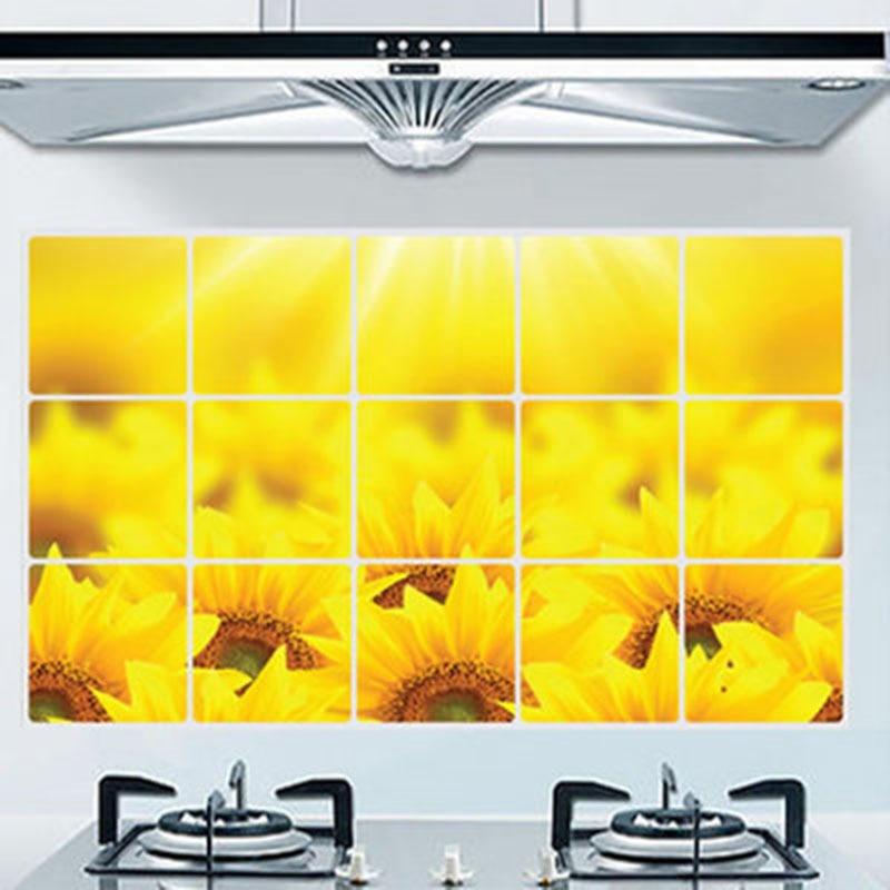 Virtuves eļļas izturīgs sienas uzlīmes saulespuķu - Mājas dekors