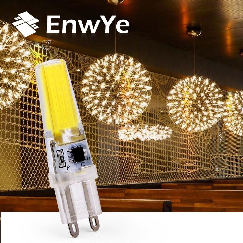 EnwYe G9 LED Lamp Bulb AC/DC 360 Degrees Dimmable 220V 6W COB SMD LED Lighting Lights Replace Halogen Spotlight Chandelier
