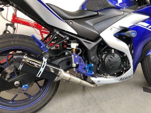 Motoo-système complet déchappement de moto   Pour Yamaha R25 R3 2015-2018 avec lien déchappement, tuyau au milieu sans lacet