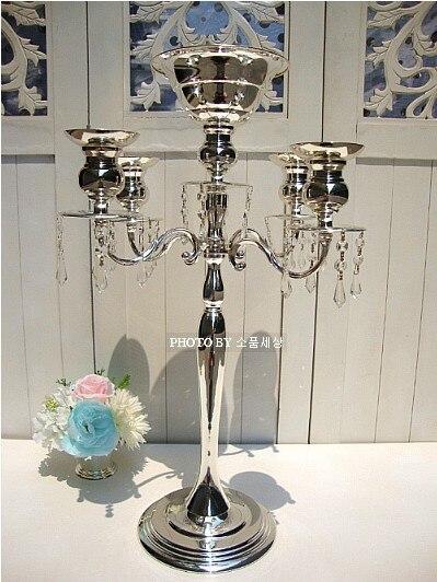H 68 cm bougeoirs en verre de mariage avec perles pour décoration de mariage bougeoir en verre mosaïque cristal bougeoir ZT 2193B