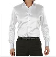 spring autumn New style men white silk Tuxedo Shirts plus size S 5XL men long sleeve shirt men Cultivate one's morality shirt