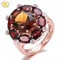 HUTANG 9.09ct Natural Smoky Quartz & Garnet Solid 925 Sterling Silver Cocktail Ring Gemstone Fine Jewelry Women's New Arrival