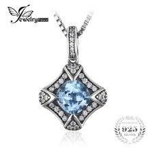 JewelryPalace Retro 2.2ct Cielo Azul Topacio Colgantes Para Mujer Accesorios de La Joyería Auténtica Plata de Ley 925 No Incluye Una Cadena