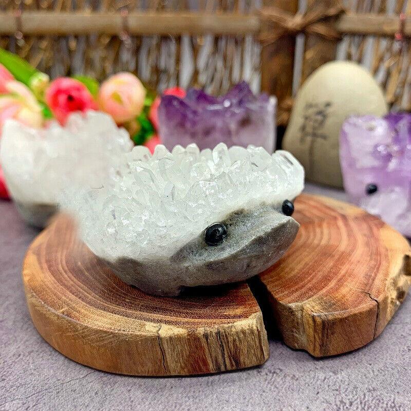 Drop Shipping 2 Kinds White Purple Crystal Hedgehog Cluster Carved Handmade Crystal Animal  Gemstones Natural