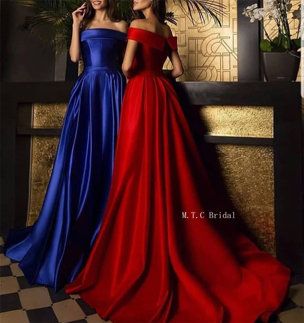 Elegant Royal Blue Long Formal Evening Dress Off The Shoulder A Line Graceful Special Occasion Dresses