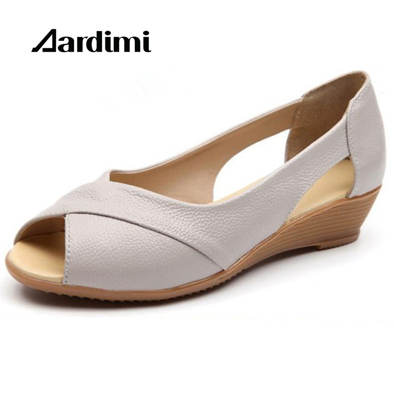 HOT 2017 genuine leather peep toe women's sandals summer wedge shoes woman 3 colors casual loafers women flats shoes sandalias mmnun 2017 boys sandals genuine leather children sandals closed toe sandals for little and big sport kids summer shoes size26 31