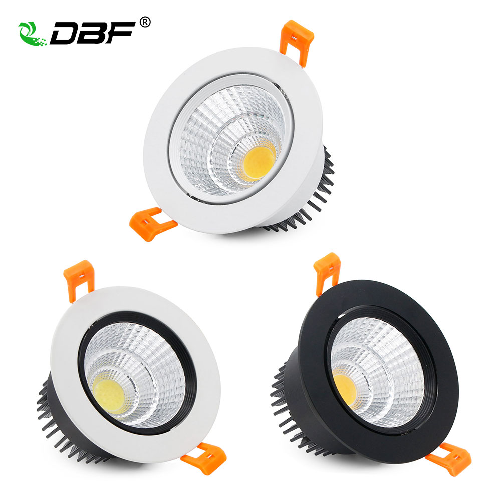 [DBF]Super Bright Epistar COB LED Recessed Downlight 5W 9W 12W Warm White/Natural White/Cold White LED Ceiling Spot Light AC220V warm white led recessed light energy saving downlight indoor ceiling lamp pack of 4 12w 3000k