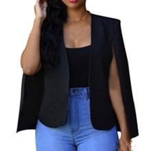 New Fashion Women Polyester Cloak Coat Black Suit Long Sleev