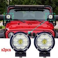2PCS 5.5inch 45W Round Led Off Road Lights 12V Spotlights Driving Work Wrangler HeadLight 4x4 Truck Driving lights Free Shipping