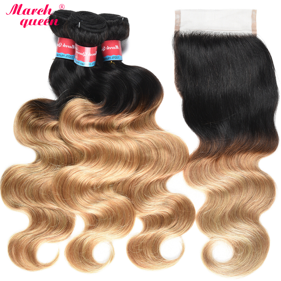 March Queen Ombre T1B/27 Brazilian Body Wave 3 Bundles With 4x4 Lace Closure 2 Tone Color Black To Honey Blonde Human Hair Weft