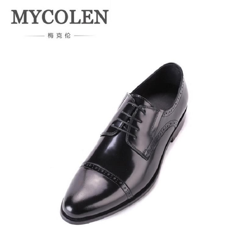 MYCOLEN Black/Brown Men Shoes Leather Male Dress Shoes Brand Luxury Men's Business Classic Gentleman Oxford Italian Mens Shoes mycolen mens genuine leather shoes dress italian leather male shoes elevator glitter black brown business shoes four seasons
