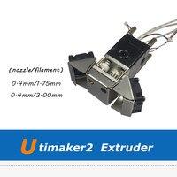 Полной собраны 0.4 мм Насадка Экструдер набор для Ultimaker 2 3D принтер с вентилятором кронштейн