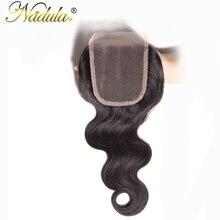 Nadula Hair 4*4 Three Part Malaysian Body Wave Closure 10-20INCH Non Remy Hair Swiss Lace Closure 120% Density 100% Human Hair