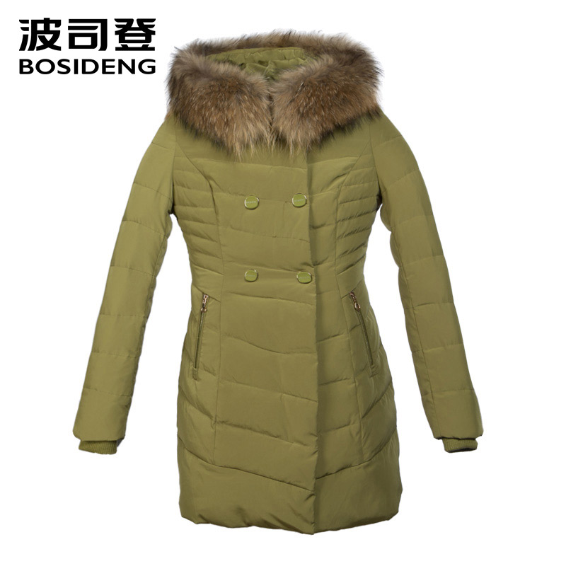 BOSIDENG новая большая енот меховой воротник меха толщиной вниз пальто женщин вниз куртка зимой средней длины пальто женщин утка вниз пальто вы...