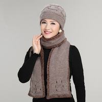 SEGLA Winter Women Rabbit Fur Hat Scarf Set Warm Wool Knitted Plush Scarves Two Pieces Crochet