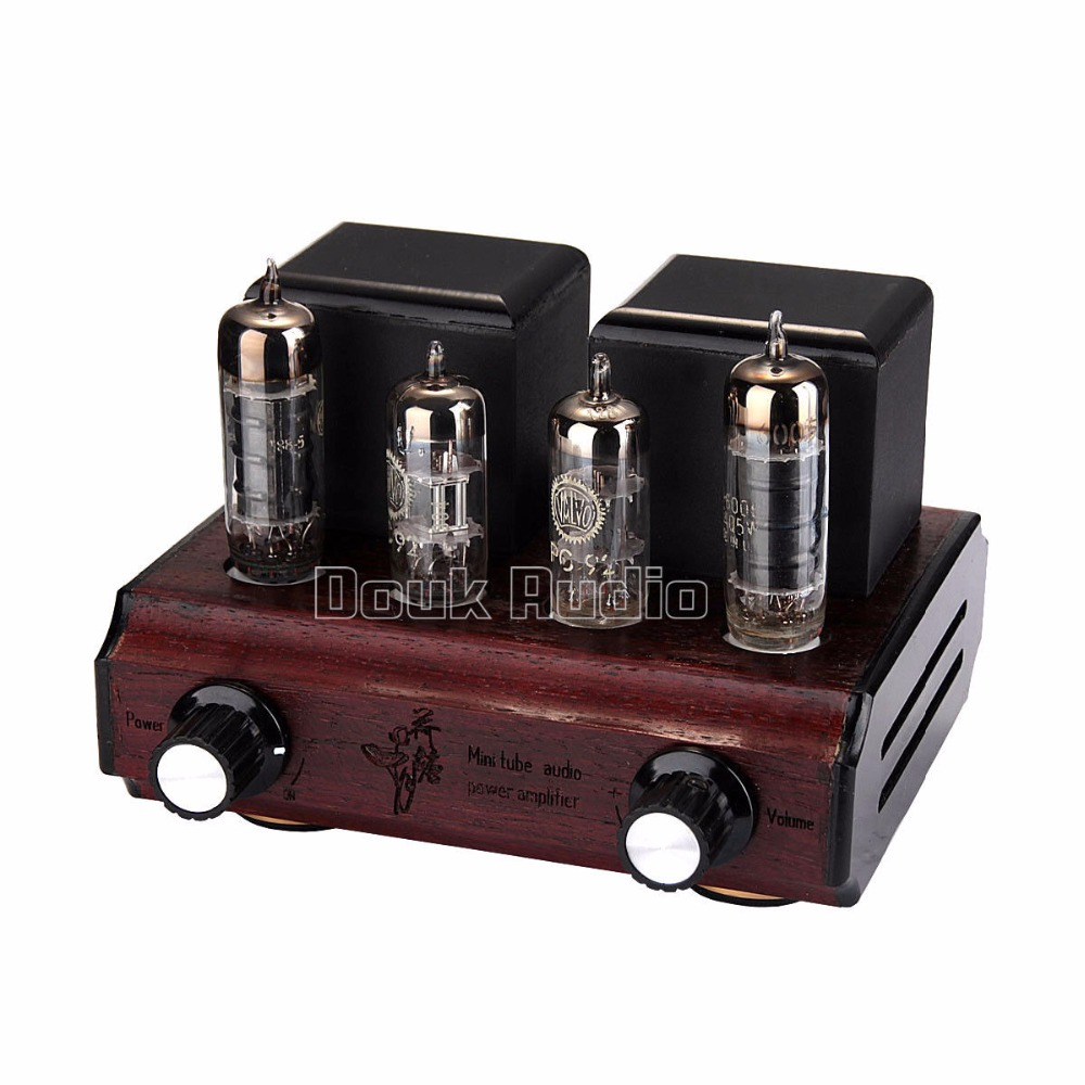 Douk Audio Mini PC92+6AQ5 Vacuum&Valve Tube Amplifier Stereo Single-Ended Class A 2.0 Channel  Desktop Power Amp 2.5W*2 appj pa1501a mini stereo 6ad10 vintage vacuum tube amplifier desktop hifi home audio valve tube integrated power amp