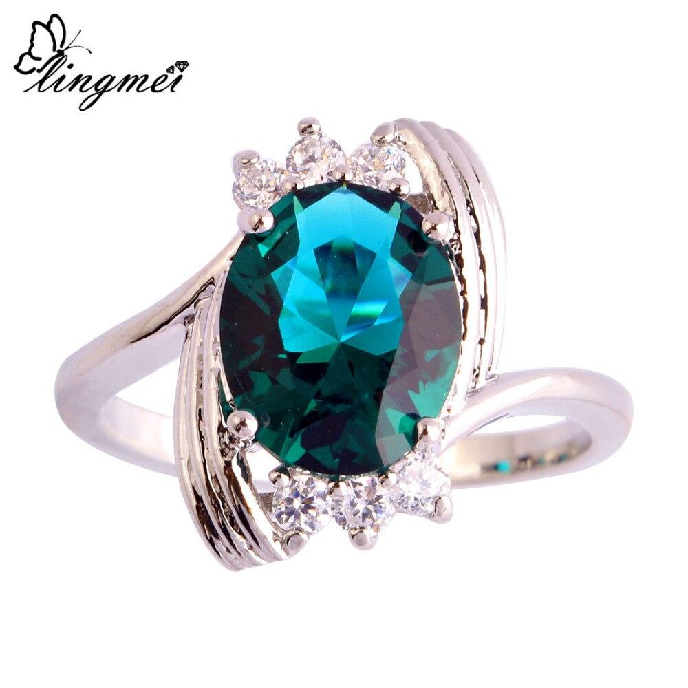 Lingmei модные дерзкий зеленый белый серебряные Цвет кольцо Размеры 6 7 8 9 10 11 12 Новый Для женщин Facile Дизайн Jewelry Бесплатная доставка оптовая прод... ...