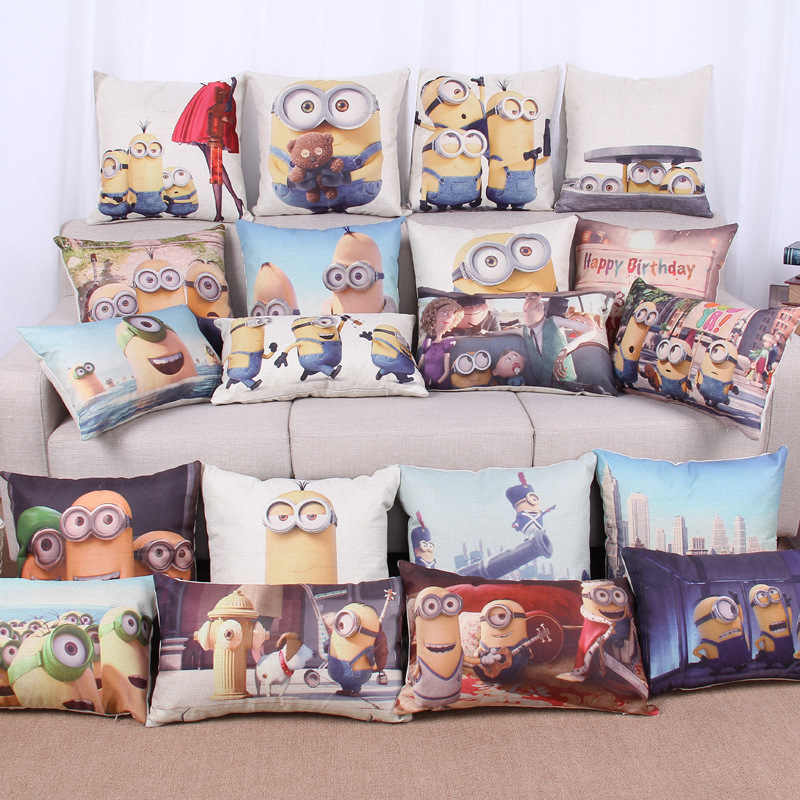 Home Decorative Cushion C Minions Cotton Linen Pillow Case Cover MF177
