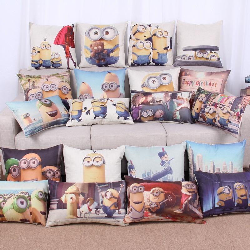 Home Decorative Cushion C Minions Cotton Linen Pillow Case Cover MF177