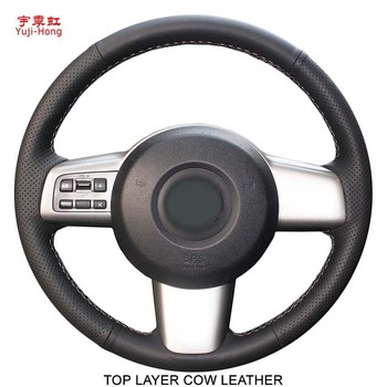 Top Layer Genuine Cow Leather Car Steering Wheel Covers Case for Mazda 2 2009-2012 Hand-stitched Steeing Cover