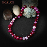 KCALOE Roze Onyx Natuursteen Ketting Geknoopt Oval Bead Verklaring Kettingen Colares Vrouwen Accessoires Bisuteria Mujer
