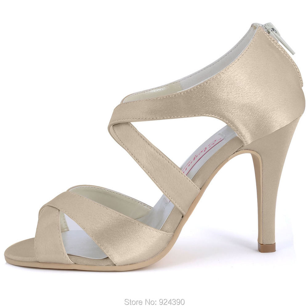 44bb10b0110 Ep2026 Champagne Prom sandalias abiertas correas cruzadas Toe High Heels  satén del banquete de boda zapatos de novia ee.uu. 9 en de en  AliExpress.com ...