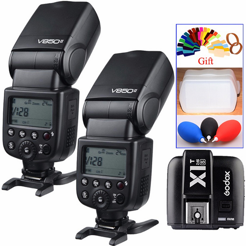2x Godox V850II GN60 2.4G Off Camera 1/8000s HSS Camera Flash Speedlight Speedlite +X1T-S Trigger Transmitter for Sony DSLR viltrox fc 16 off camera flash trigger w light control trigger black