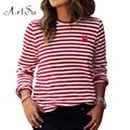 Mujeres Tops O-cuello de La Camiseta de Manga Larga A Rayas Camisetas Camisetas Blusas Femininas EPTS80066