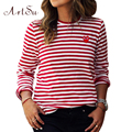 Womens Tops O-Neck T-Shirt Long Sleeve Striped T Shirts Tees Blusas Femininas EPTS80066