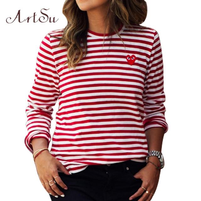 Womens Tops O-Neck T-Shirt Long Sleeve Striped T Shirts Tees Blusas Femininas EPTS80066