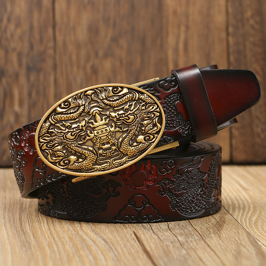 2019 New High Quality Genuine Leather Men Belt Cowhide Men Artcraft Waistbands Chinese Dragon Pressed Straps Male Designer Belts Firm In Structure Apparel Accessories