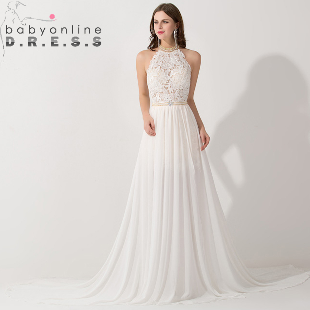 Romantic Ivory Lace Vestido de Noiva Beaded Sexy Backless High Low Beach Vintage Wedding Dress Chiffon