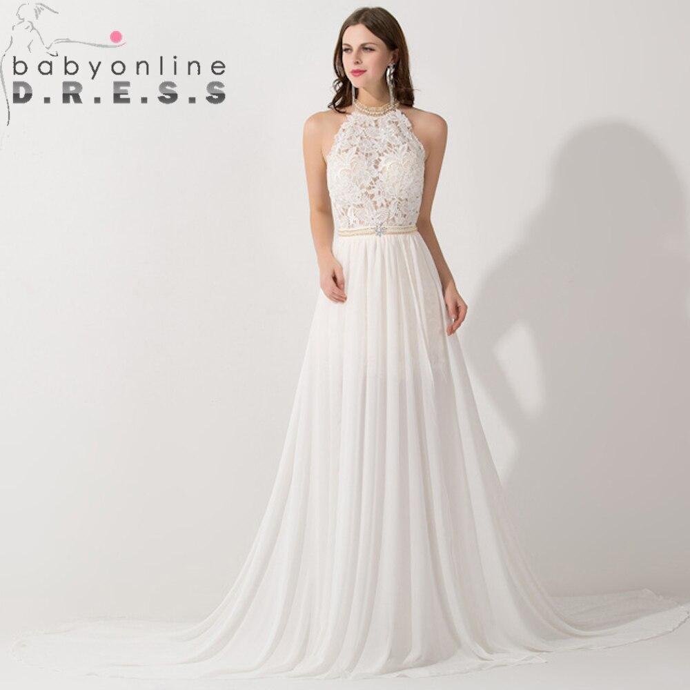 Romantische Elfenbein Spitze Vestido de Noiva Perlen Sexy Backless ...