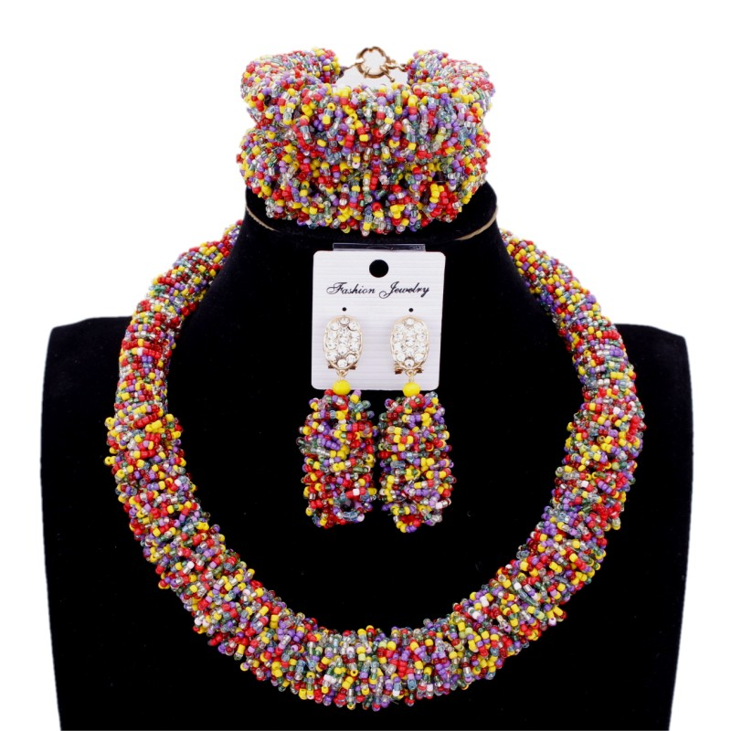 Dudo Jewelry African Beads Mix Colorful Bold Choker Necklace Set Crystal Nigerian Jewellery Set Free Shipping Wedding Party Set