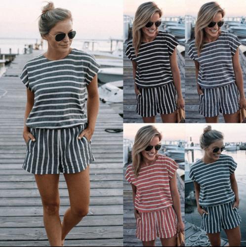Jumpsuit Short Summer Women Fashion Casual Stripe Trouser Romper Loose Female Lady