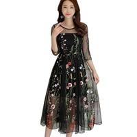 2018 Newest Fashion summer Dress Women elegant Three Quarter Tulle Gauze Flower Floral Embroidery Black Vintage Long Dress LY905