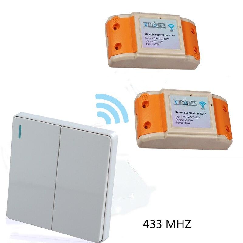 Casa inteligente 240vhome RF 433 MHZ 2 bandas de 1 Vías de control Remoto inalám