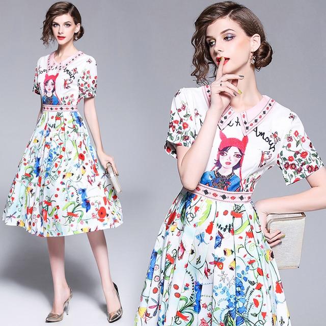 619bf0f237 Italy Paris Fashion Show Big Brand Dress 2018 Women Beautiful Elegant Cute  Cartoon Girl Character Printing A-line Boutique Dress