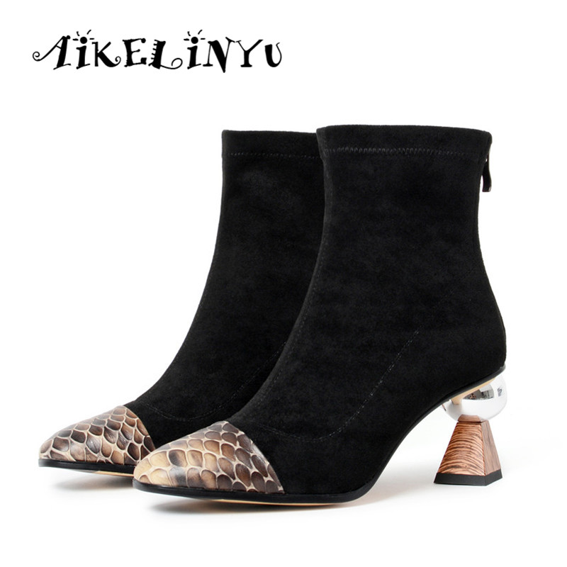 AIKELINYU Women 39 s Boots Pointed Toe Yarn Elastic Ankle Boots Wood Grain High Heels Shoes Woman Female Socks Boots 2019 Autumn in Ankle Boots from Shoes