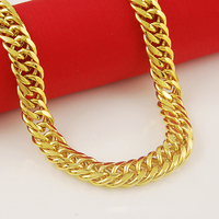 Royal Necklace Chain23.6'' Long Men 24K Yellow gold Filled Big Heavy Chain Jewelry Club Party Birthday Wholesale